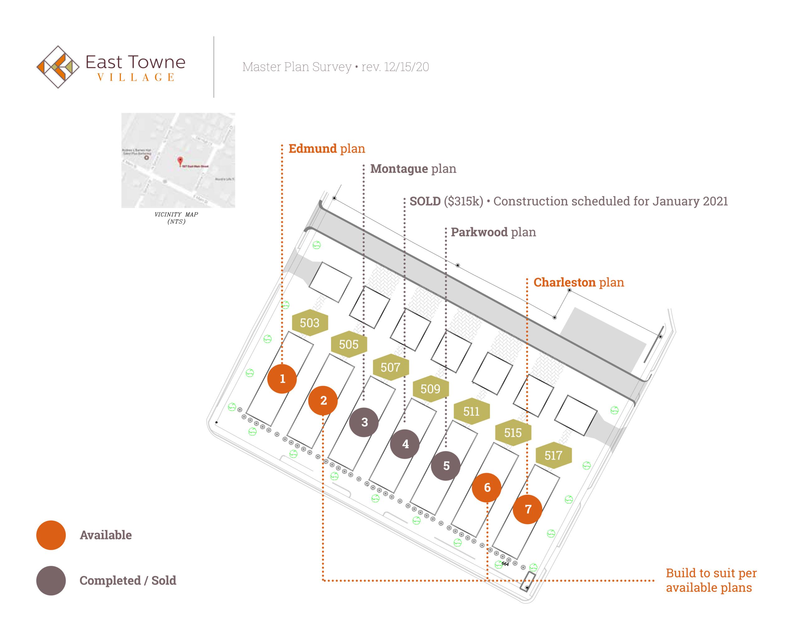 East Towne Village Rock Hill SC Lot Map 12/2020